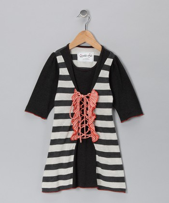 Orange Sorbet Stripe Lace-Up Dress - Toddler & Girls