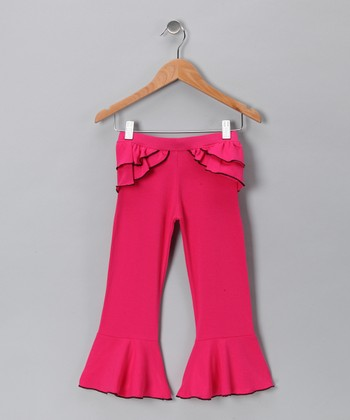 Fuchsia & Black Ruffle Pants - Toddler & Girls