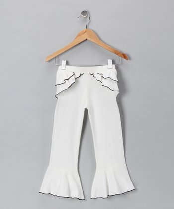 Ivory & Black Ruffle Pants - Girls