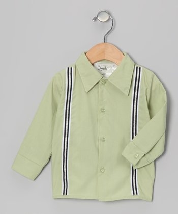 Sage Green Mustache Button-Up - Infant & Toddler