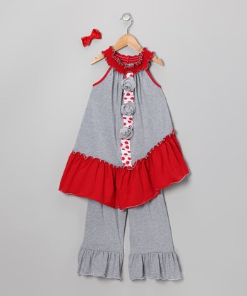 Heather Gray & Red Tunic Set - Toddler