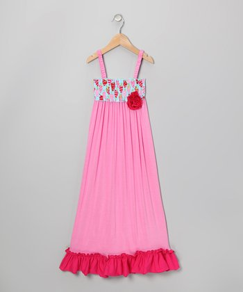 Pink Strawberry Lover Smocked Maxi Dress - Girls