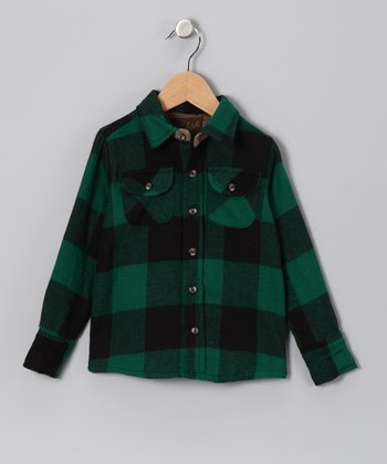 Green Flannel Button-Up - Boys