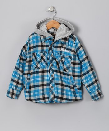Blue & Black Flannel Layered Button-Up - Boys