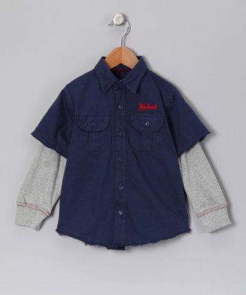 Denim Mechanic Layered Button-Up - Boys