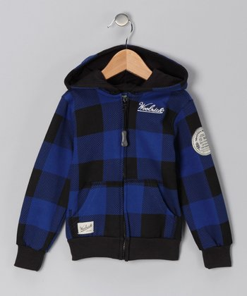Blue Flannel Zip-Up Hoodie - Boys