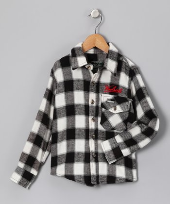 Black Flannel Button-Up - Infant, Toddler & Boys