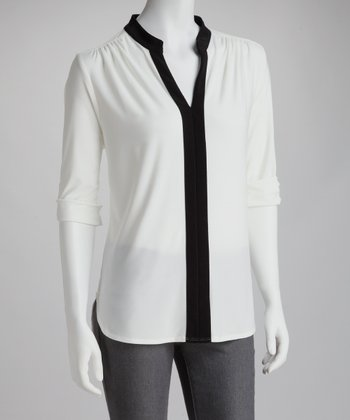 Ivory & Black Placket V-Neck Top