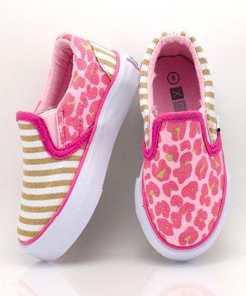 XOLO Shoes Pink & Tan Tabby Slip-On Sneaker