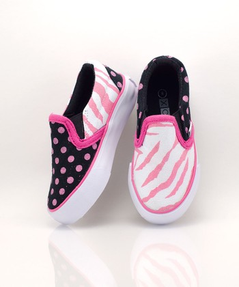 XOLO Shoes Pink & Black Zany Slip-On Sneaker