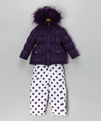Plum Puffer Coat & Snow Pants - Infant & Toddler