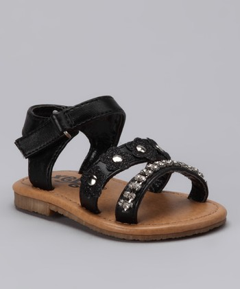 Xeyes Black Flower Rhinestone Sandal