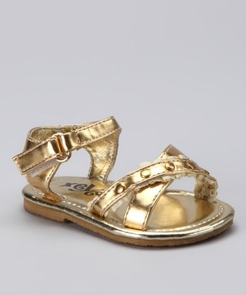 Gold Studded Shimmer Sandal - Toddler