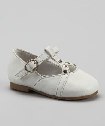 White Studded T-Strap Shoe