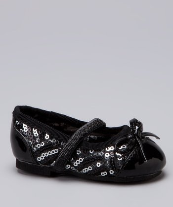 Black Sequin Bow Ballet Flat