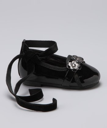 Black Ribbon Ankle-Strap Flat
