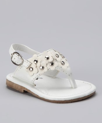 White Embellished Flower Sandal - Infant & Toddler