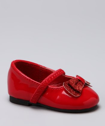 Red Glitter Bow Toe Ballet Flat