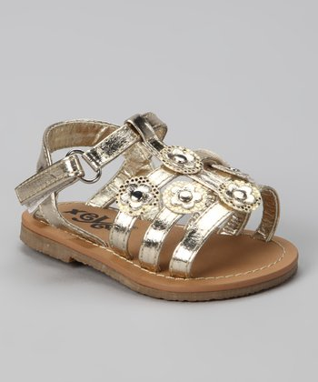 Gold Sequin Flower Sandal