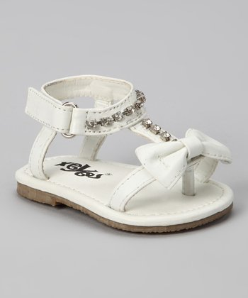 White Bow & Crystal Sandal