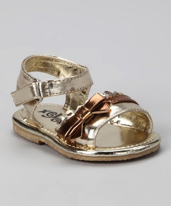 Gold Bow & Heart Sandal