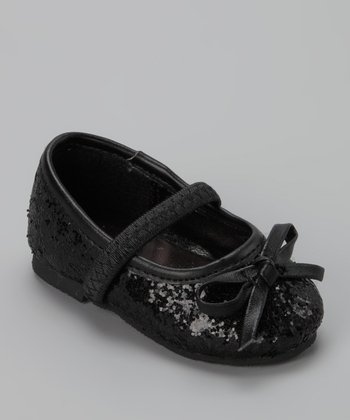 Black Sequin Flat