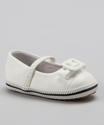 White Buckle Bow Flat