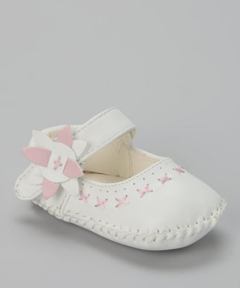 White Flower Soft-Sole Mary Jane