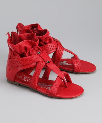 Red Ruffle Gladiator Sandal
