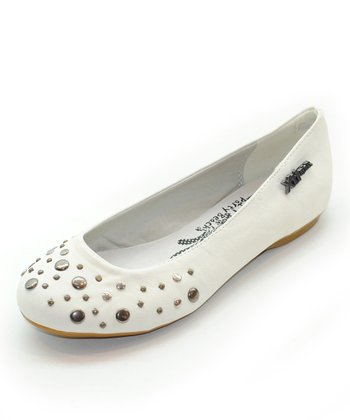 White Embellished Flat