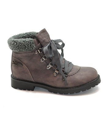 Gray Shearling Boot