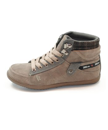 Taupe Plaid Hi-Top Sneaker