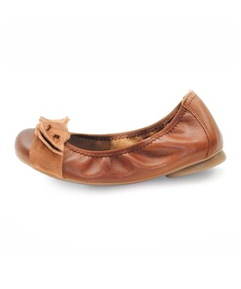 Saddle Brown Leather Ballet Flat