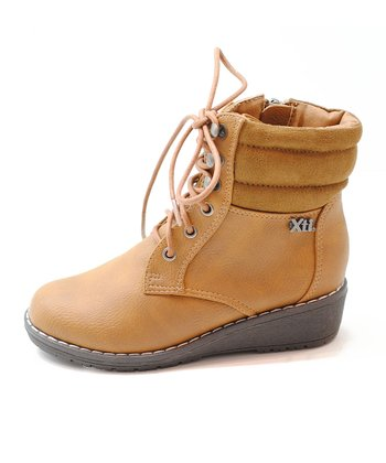 Camel Wedge Ankle Boot