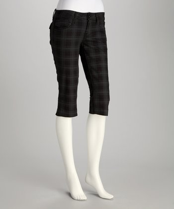 Dark Blue Plaid Capri Pants