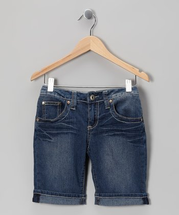 Medium Wash Contrast-Stitch Bermuda Shorts - Girls