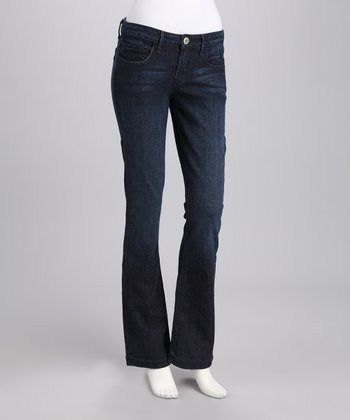 Dark Wash Five-Pocket Flare Jeans