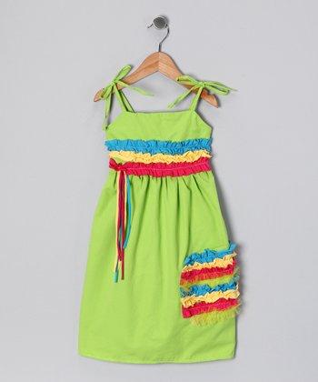 Lime Stripe Ruffle Dress - Toddler & Girls
