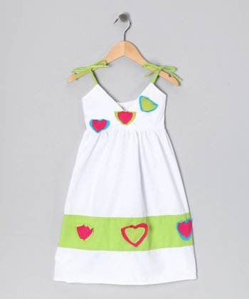White & Lime Little Heart Dress - Infant, Toddler & Girls