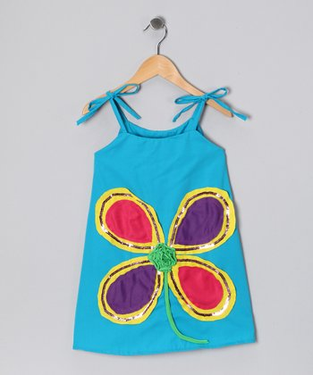 Blue & Purple Flower Dress - Infant, Toddler & Girls