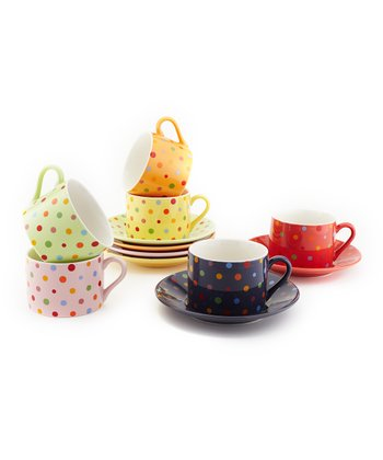 Polka Dot Cup & Saucer Set