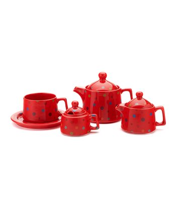 Red Polka Dot Small Tea-for-One Set