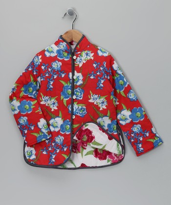 Red Floral Military Jacket - Toddler & Girls