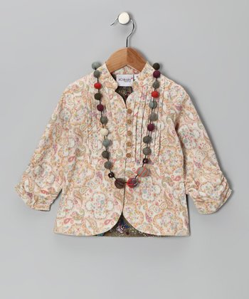 Gold Paisley Jacket & Necklace - Toddler & Girls