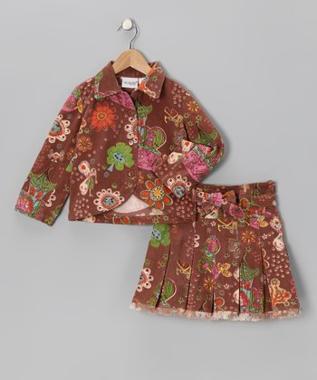 Brown Floral Velvet Jacket & Skirt - Toddler & Girls