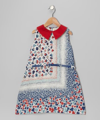 Red & Blue Shape Belted Dress - Toddler & Girls