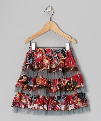 Blue & Red Tiered Ruffle Net Skirt - Toddler & Girls