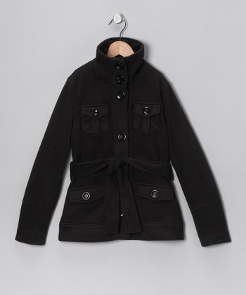 Black Belted Coat - Girls