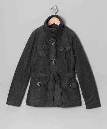 Charcoal Belted Coat - Girls