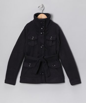 Navy Belted Coat - Girls